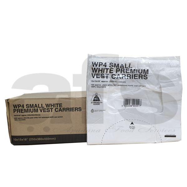 SMALL CARRIER BAGS WHITE  [2000 PCS]